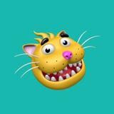 Tecknad film som ler katthuvudet illustration 3d Royaltyfri Fotografi