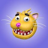 Tecknad film som ler katthuvudet illustration 3d Arkivbild