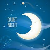 Tecknad film som sover månen stock illustrationer