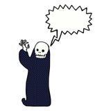 tecknad film som vinkar den halloween likätande onda anden med anförandebubblan Arkivfoto
