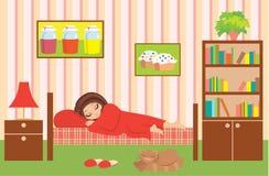 tecknad film sovar kvinnan Arkivfoto