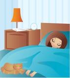 tecknad film sovar kvinnan Arkivfoton