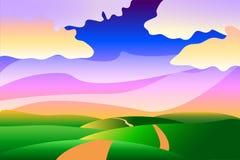 Tecknad film stiliserad idyllisk fridsam sommarlandskapbakgrund Royaltyfria Bilder