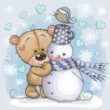 Tecknad film Teddy Bear och en snögubbe royaltyfri illustrationer