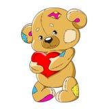 Tecknad film Teddy Bear Rolig leksakbjörn En nallebjörn med en hjärta Gulligt tecken för garnering Isolerad vektor Royaltyfri Foto