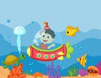 Tecknad film ungar i ubåten Royaltyfri Bild