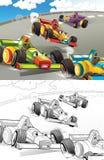 Tecknad film utformad maskinfärgläggningsida royaltyfri illustrationer