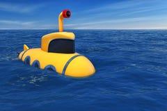 Tecknad film utformad ubåt i havet framförande 3d Arkivfoto