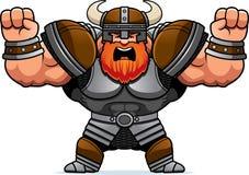 Tecknad film Viking Angry royaltyfri illustrationer