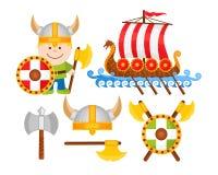 Tecknad film Viking Vector Illustrations Royaltyfri Bild