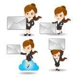 Tecknad filmaffärskvinna med emailen vektor illustrationer