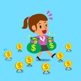 Tecknad filmaffärskvinna som går med pengarmynt Arkivbild