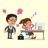 Tecknad filmaffärskvinna som sovande faller i hennes kontor stock illustrationer
