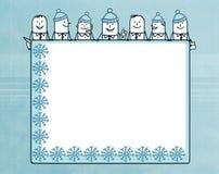 Tecknad filmaffärslag och vintermellanrumsbräde stock illustrationer