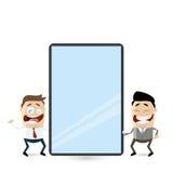 Tecknad filmaffärsmän med den stora minnestavladatoren eller smartphonen stock illustrationer