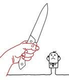 Tecknad filmaffärsman - kniv och fara Royaltyfri Bild