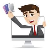 Tecknad filmaffärsman med kreditkortar ut ur moniter Arkivfoto
