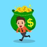 Tecknad filmaffärsman som bär den stora pengarpåsen royaltyfri illustrationer