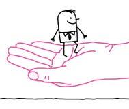 Tecknad filmaffärsman - vänlighet Arkivbild