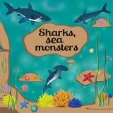Tecknad filmaffisch med hajar och ställe för din text Royaltyfria Bilder
