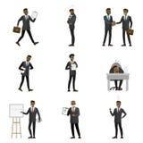 Tecknad filmafrikansk amerikanaffärsman Characters stock illustrationer
