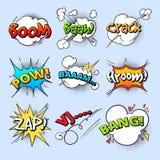 Tecknad filmanförandebubblor, exploderar smällljudet med den komiska samlingen för textbeståndsdelvektorn vektor illustrationer