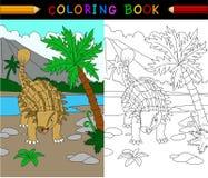 Tecknad filmankylosaurs som färgar sidan vektor illustrationer