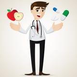 Tecknad filmapotekare med äpplet och preventivpillerar royaltyfri illustrationer