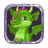 Tecknad filmappsymbol med den roliga gröna unga draken royaltyfria bilder