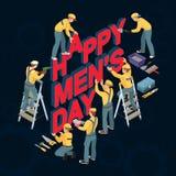 Tecknad filmarbetare gör ord lyckliga mäns dag vektor stock illustrationer