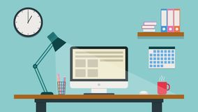Tecknad filmarbetsplats Modernt färgrikt kontor Plan animering 4K stock illustrationer