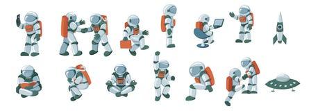 Tecknad filmastronaut, kosmonaut, spacesuitvektoruppsättning som isoleras på vit bakgrund stock illustrationer
