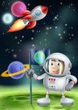 Tecknad filmastronaut och raket stock illustrationer