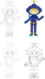 Tecknad filmastronaut som pricker leken för ungar Royaltyfri Bild