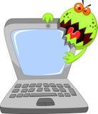 Tecknad filmbärbar dator som anfaller vid viruset royaltyfri illustrationer