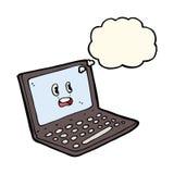 tecknad filmbärbar datordator med tankebubblan Arkivbild
