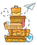 Tecknad filmbagage för att resa Illustration för loppbyråer Mycket bagage som överst ligger av de Teckning stock illustrationer