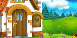 Tecknad filmbakgrund av ett gammalt hus i ängen Royaltyfri Fotografi