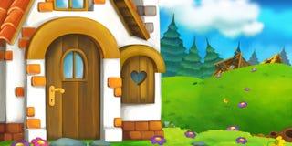 Tecknad filmbakgrund av ett gammalt hus i ängen Royaltyfria Foton