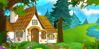 Tecknad filmbakgrund av ett gammalt hus i skogen Royaltyfri Bild