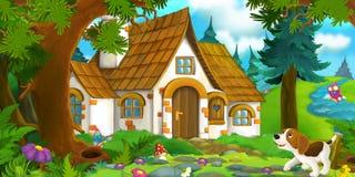 Tecknad filmbakgrund av ett gammalt hus i skogen och den skyddande hunden Royaltyfri Bild