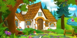 Tecknad filmbakgrund av ett gammalt hus i skogen och den skyddande hunden Arkivbilder