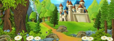 Tecknad filmbakgrund med slotten för sagor vektor illustrationer