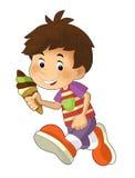 Tecknad filmbarn som har gyckel - illustration för barnen vektor illustrationer