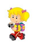 Tecknad filmbarn som har gyckel - illustration för barnen royaltyfri illustrationer