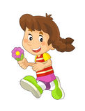 Tecknad filmbarn som har gyckel - illustration för barnen stock illustrationer