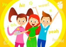 Tecknad filmbarntecken Ungar leende, gör selfie Lyckliga flickor och pojken tycker om att ta selfie med fotokameran Barnfotografi Arkivfoton