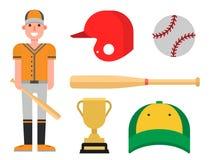 Tecknad filmbasebollspelaresymboler som slår till vektordesignamerikanen, spelar utrustning för idrottsman nensportligan stock illustrationer
