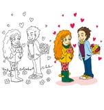 Tecknad filmbilden av par för valentindag vektor illustrationer