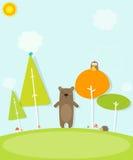 Tecknad filmbjörn i skogen Arkivfoto